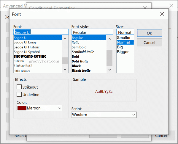Select your Conditional Formatting font rules in Outlook