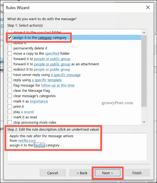 Setting the action for a new Outlook rule