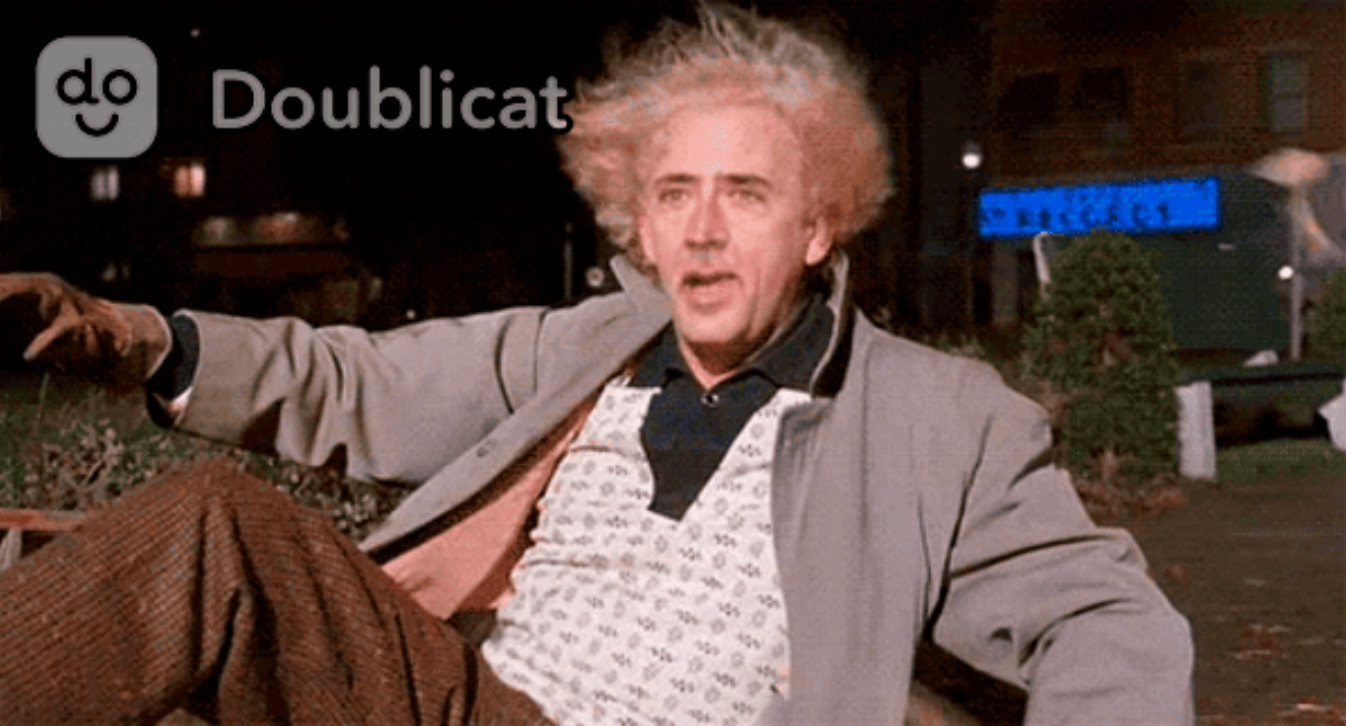 Nicolas Cage is a great stand-in for Back to the Future's Doc Brown