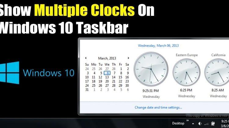 How to Add Multiple Clocks on Windows 10 Taskbar