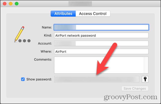 Network password shown in Keychain Access
