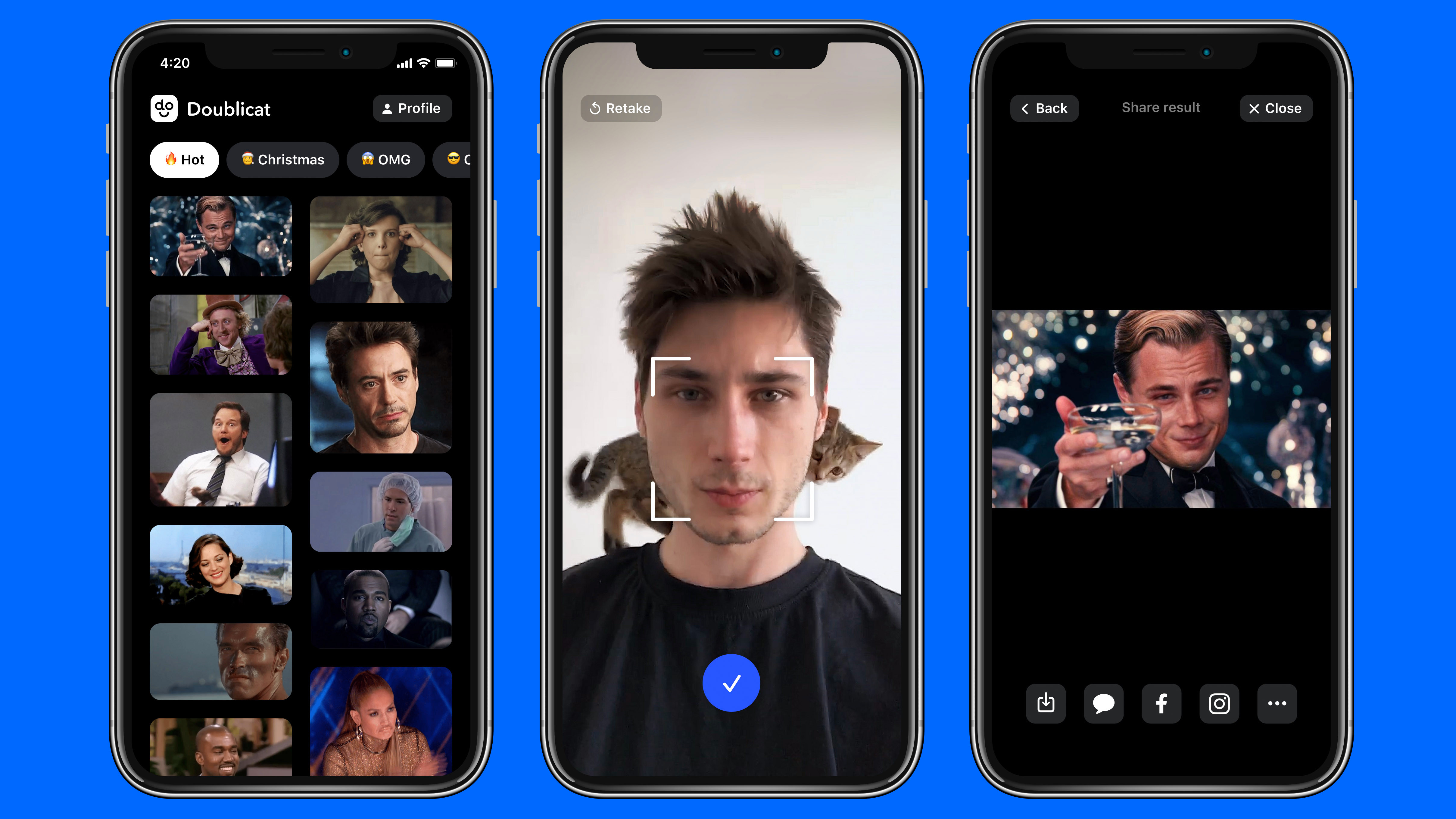 Simply snap a selfie and pick a GIF and the app will do the rest