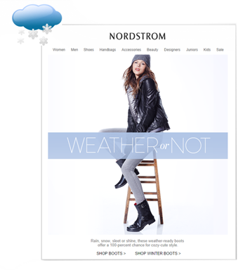 Nordstrom female boots dynamic email based on weather - Content marketing 2020
