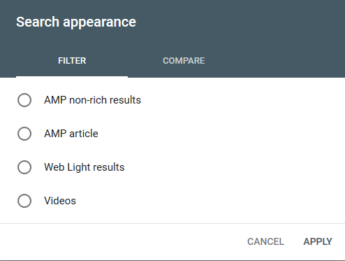 No Review Rich Snippet Appearance Choice in GSC Performance Report Screenshot
