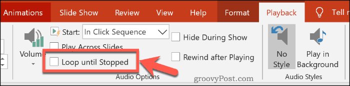 Looping audio in PowerPoint