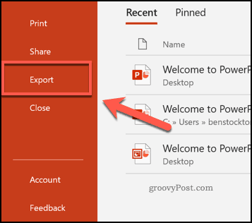 The Export tab icon in PowerPoint