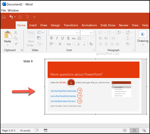 The PowerPoint editing mode in Microsoft Word