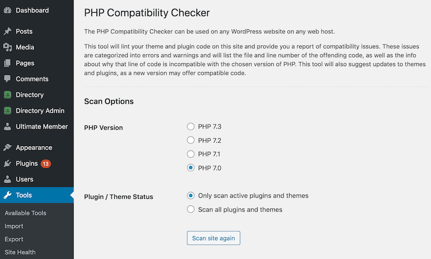 You can check for PHP compatibility issues using a free WordPress plugin