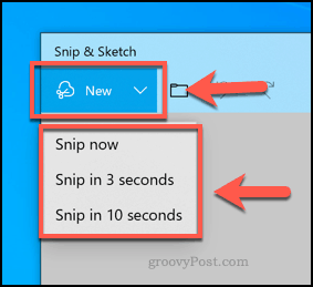 Creating a new Snip and Sketch snippet
