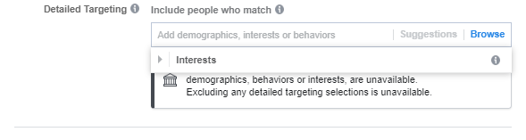 Detailed targeting view for Facebook Special Ad Category ads