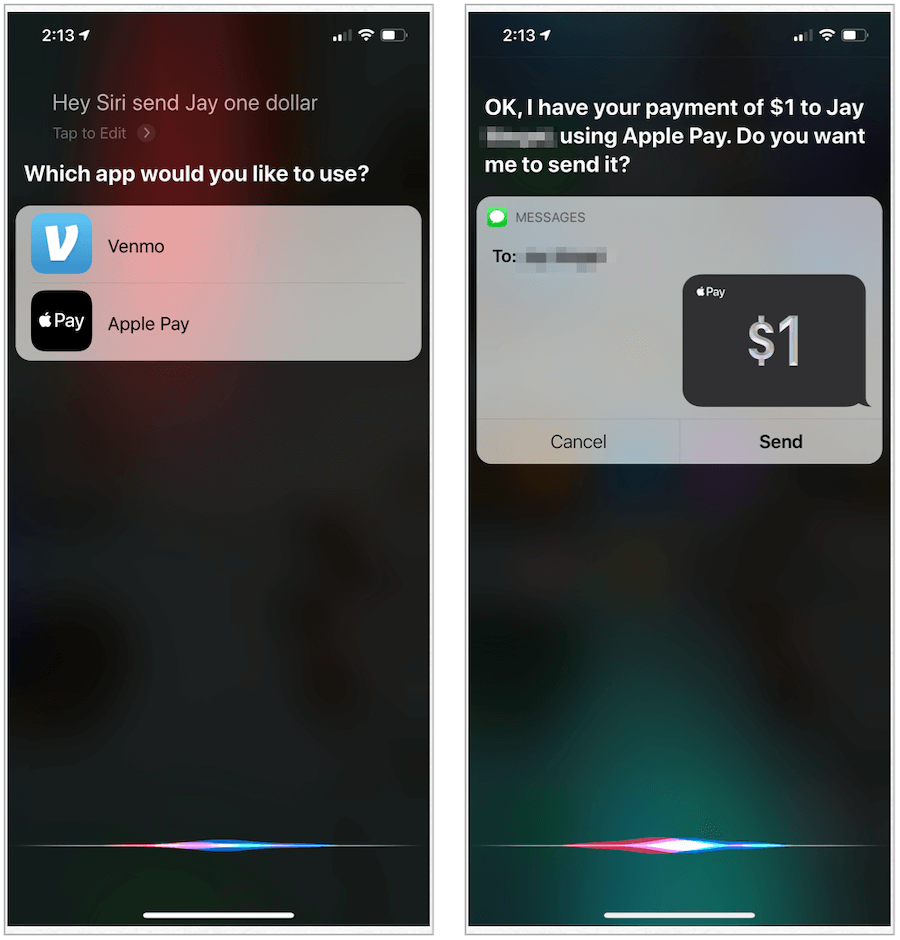 Apple Pay with Siri