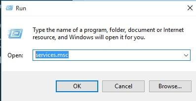 Enter'services.msc'