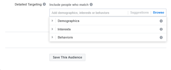 Detailed targeting view for a standard ad