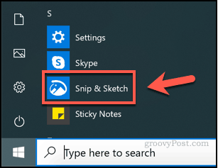 Launching Snip and Sketch on Windows