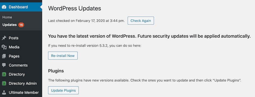 Check that youre running the latest version of the WordPress software
