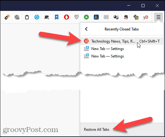 Reopen Closed Tab in Firefox