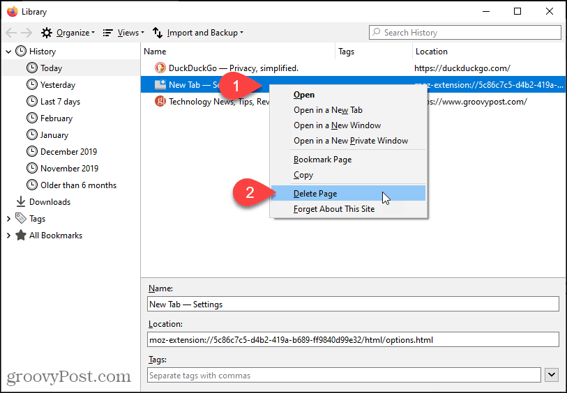 Delete page in History in Firefox