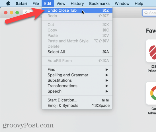 """Go to Edit> Undo Close Tab in Safari"""" width=""""548″ height=""""462″  /></noscript></p> <p>You can also go to <strong>History > Reopen Last Closed Tab</strong> or press <strong>Shift + Command + T</strong>.</p> <p><noscript><img wpfc-lazyload-disable="""
