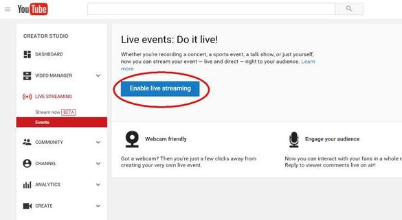 Click on'Enable Live Streaming' and fill in the details