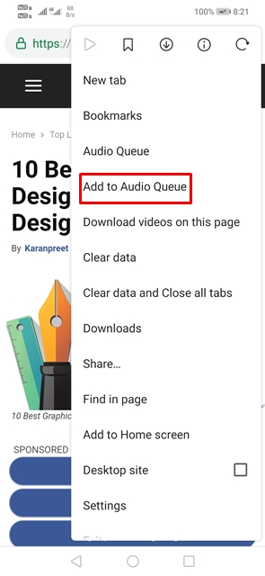 Select'Add to Audio Queue'