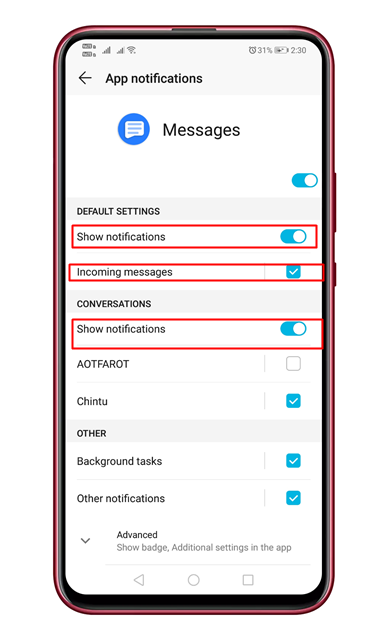 Enable the'Show Notification'