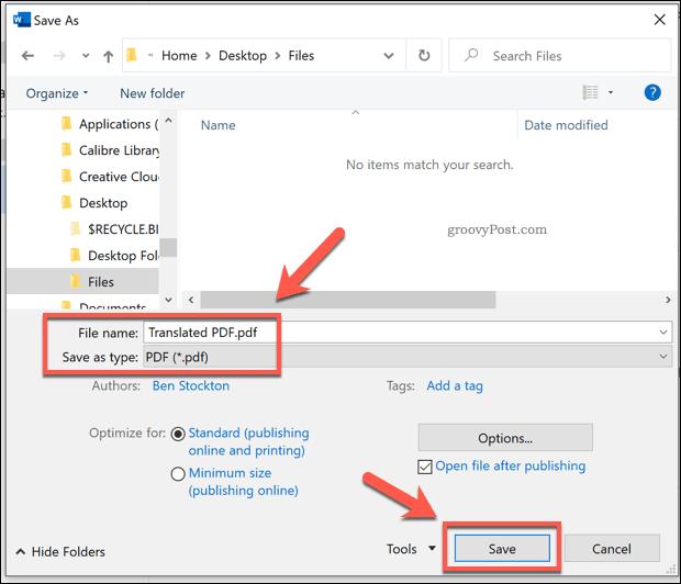 Saving as a PDF in Word