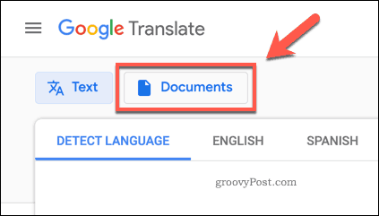 The Google Translate Documents button