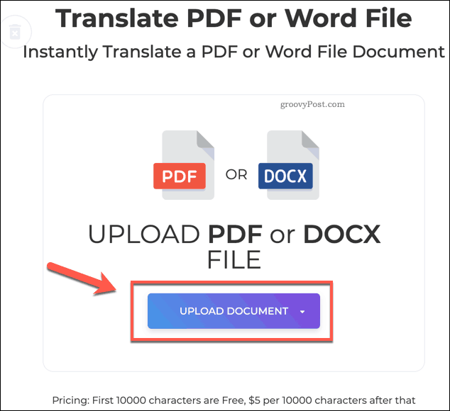The DeftPDF Upload Document button