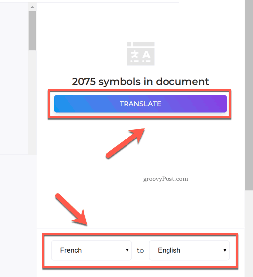 The DeftPDF translation options