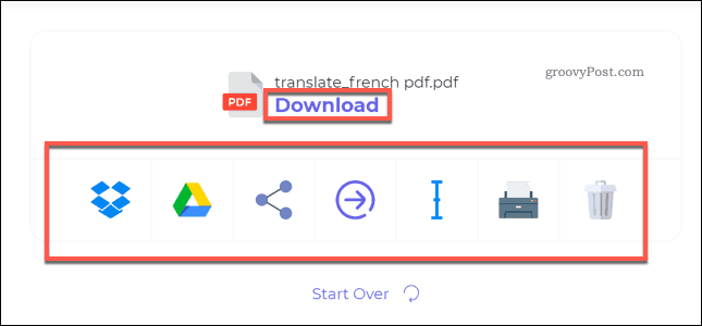 Downloading a translated PDF file using DeftPDF