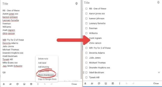 Google Keep Productivity Create Checklist