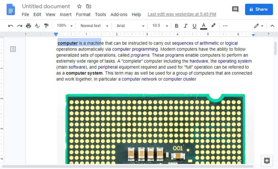 explore button in google docs