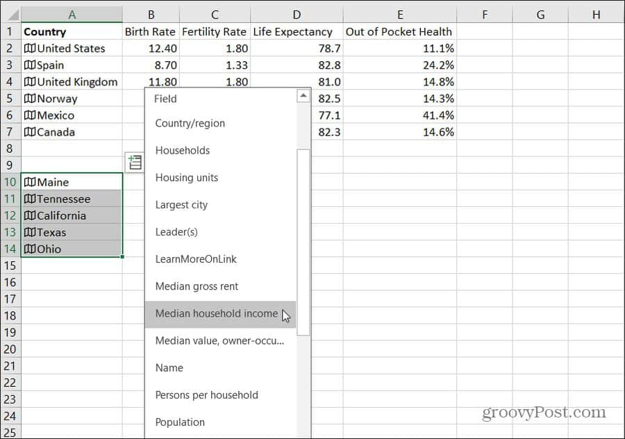 importing state data into excel