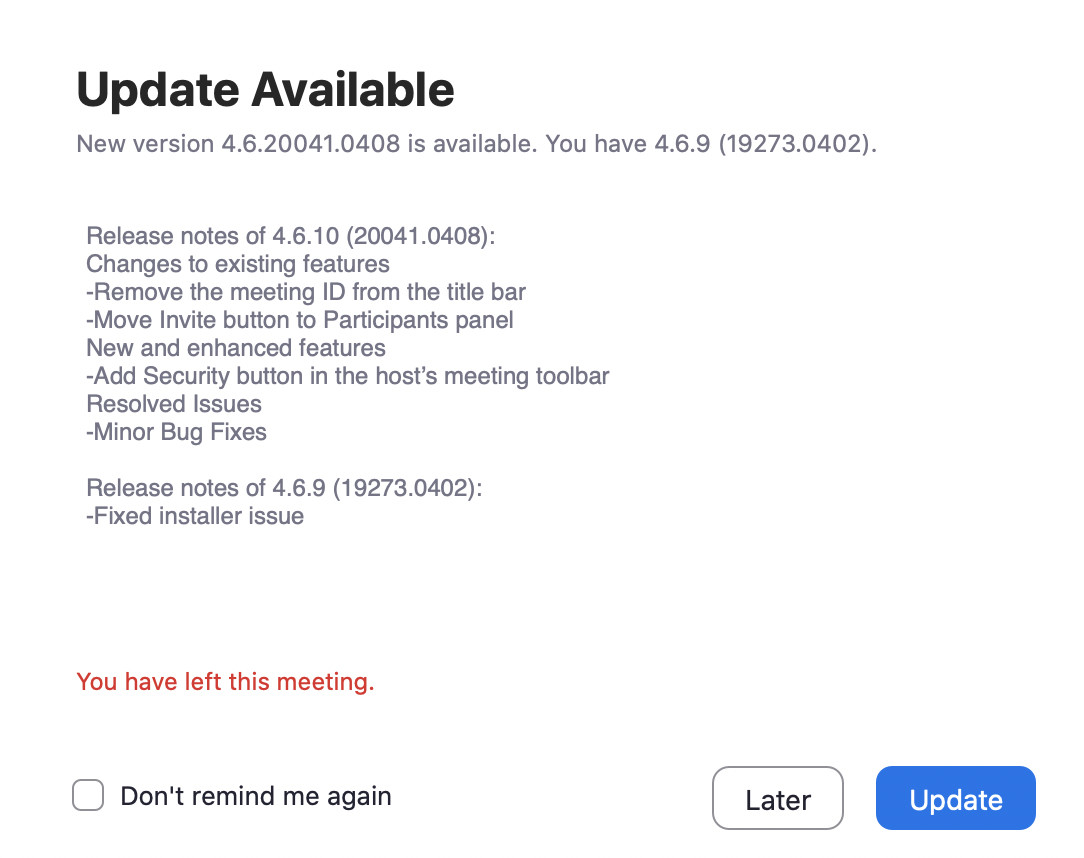 Zoom update hides meeting ID numbers from the title bar