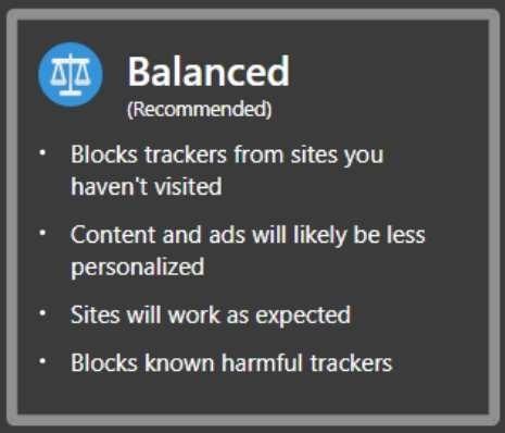 Edge Tracker Protection Balanced