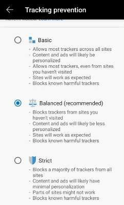 Edge Tracker Protection Choices Android