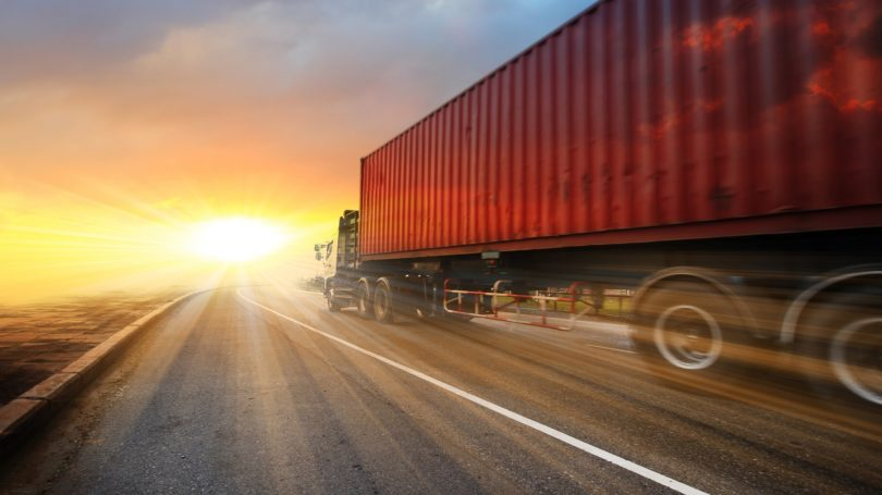 Commercial Truck Driver Road Sunset Horizon