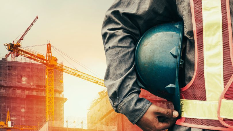 Construction Worker Helmet Location Site Crane