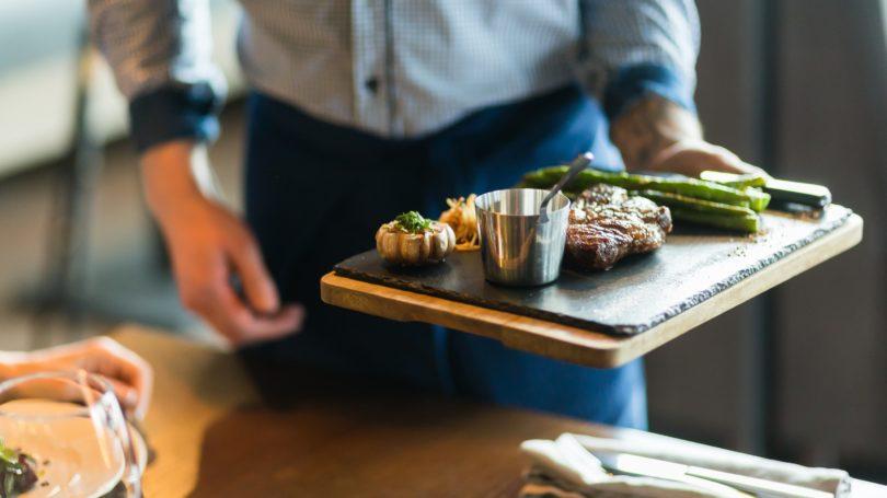 Restaurant Server Steak Vegetables Table