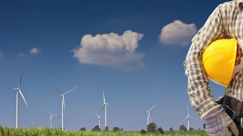 Wind Turbine Technician Helmet Outdoors Clouds