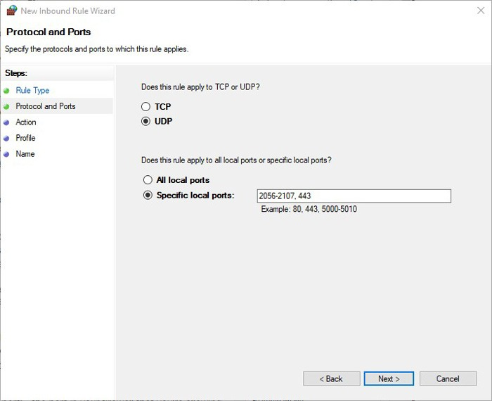Set Up Port Forwarding Windows 10 New Rule Wizard