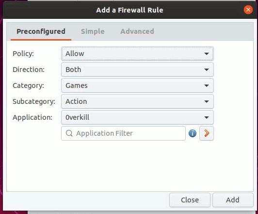 Gufw Firewall Preconfigured Rules 1