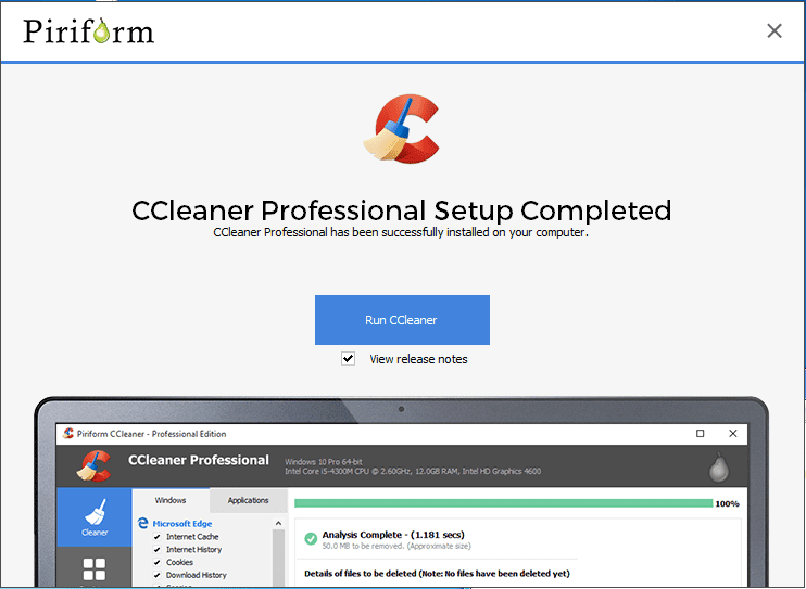 download and install CCleaner