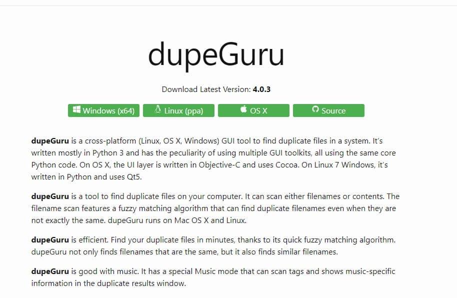 Install DupeGuru