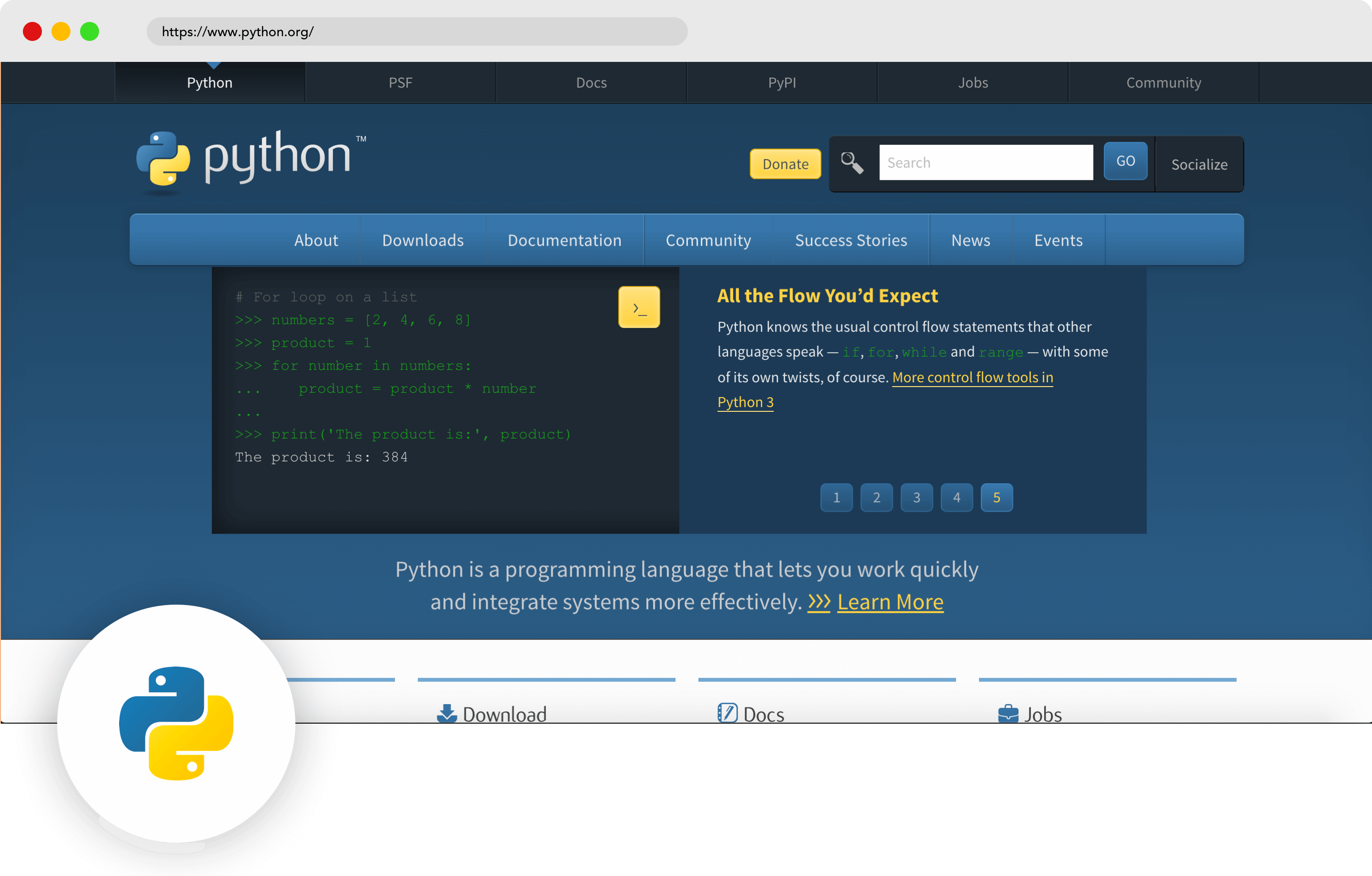 Python mobile development language