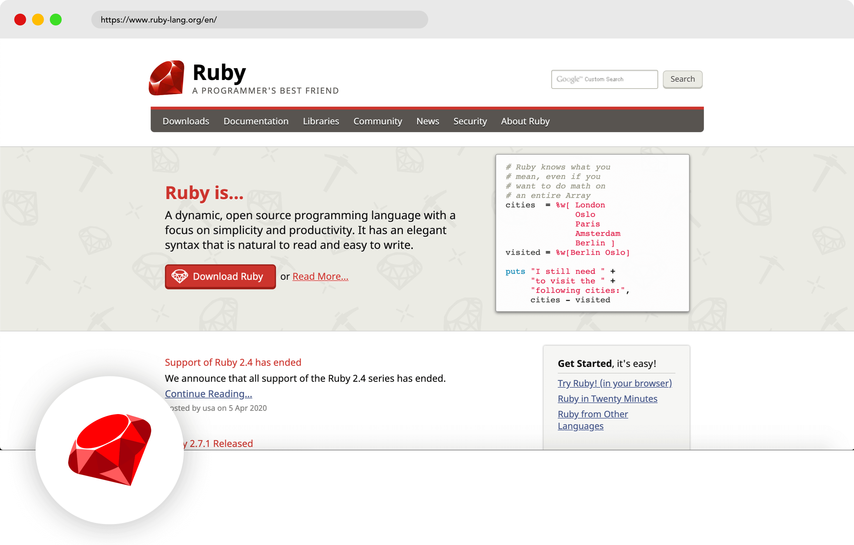 Ruby mobile development language
