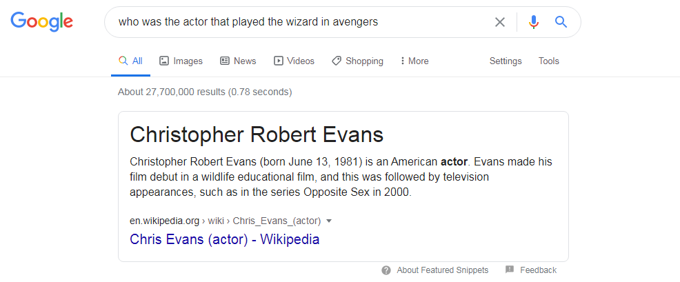 chris evans google search screenshot