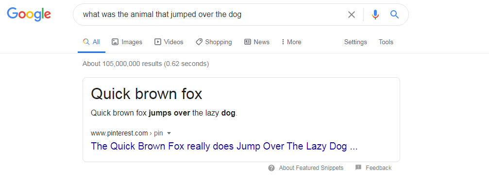 quick brown fox google search screenshot