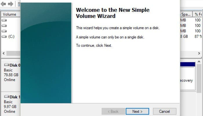 Xbox New Simple Volume Wizard