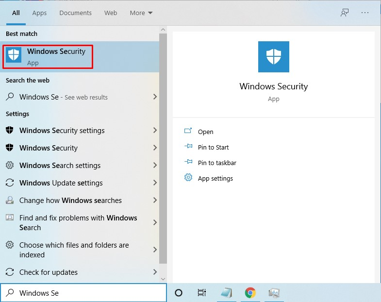 Open the 'Windows Defender Security Center' from there